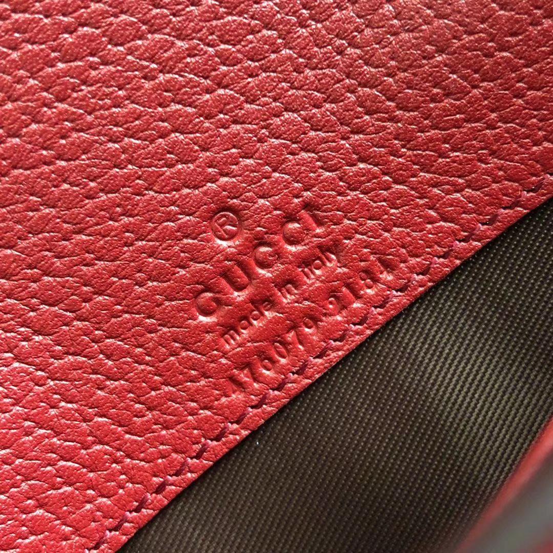 Gucci 原版料新系列【Queen Margaret】 链条包 476079 老花+红色 皮质柔软 20.5x13x4.5cm