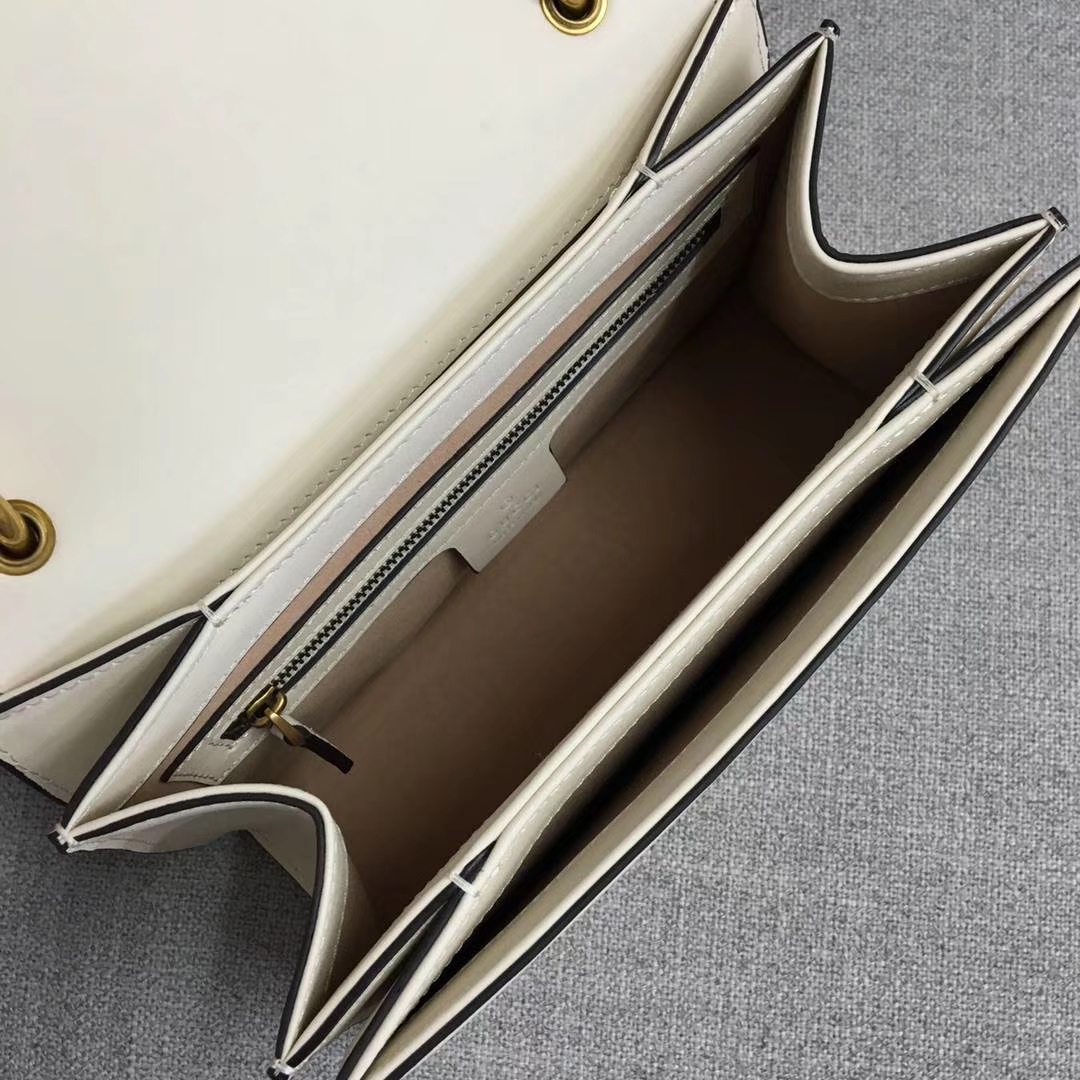 Gucci 玛格丽特皇后【Queen Margaret】476541 白色 原单皮 以大蜜蜂做点缀 华丽又高雅 25.5x17x13cm