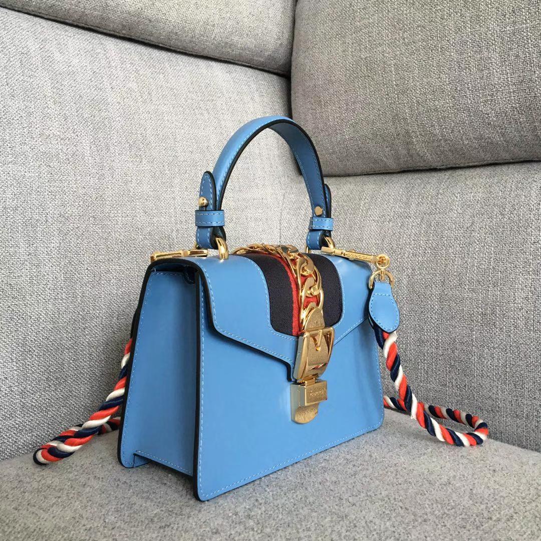 GUCCI Sylvie 470270 蓝色  原单品质 夏日爆款 双肩带 20x8x14cm