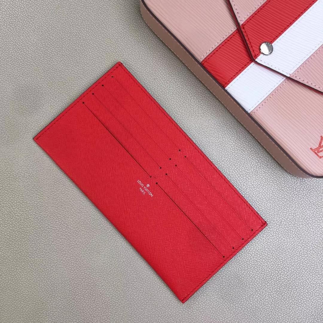 LV路易威登 M62892 红白粉 POCHETTE FÉLICIE 钱夹 黑色水波纹红白条三件套链条包 21.0 x 12.0 x 3.0cm