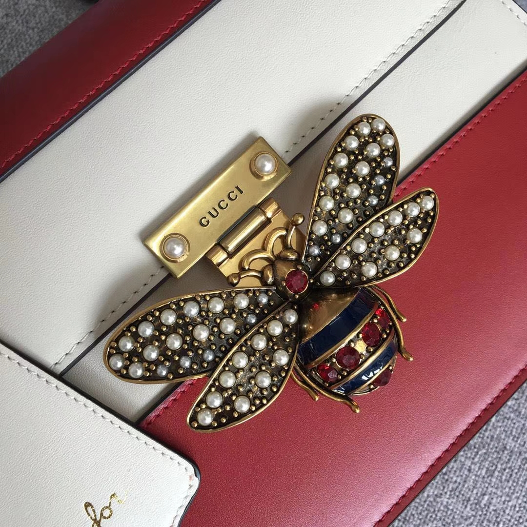 Gucci 玛格丽特皇后【Queen Margaret】476541 红+白 原单皮质 以大蜜蜂做点缀 华丽又高雅 25.5x17x13cm