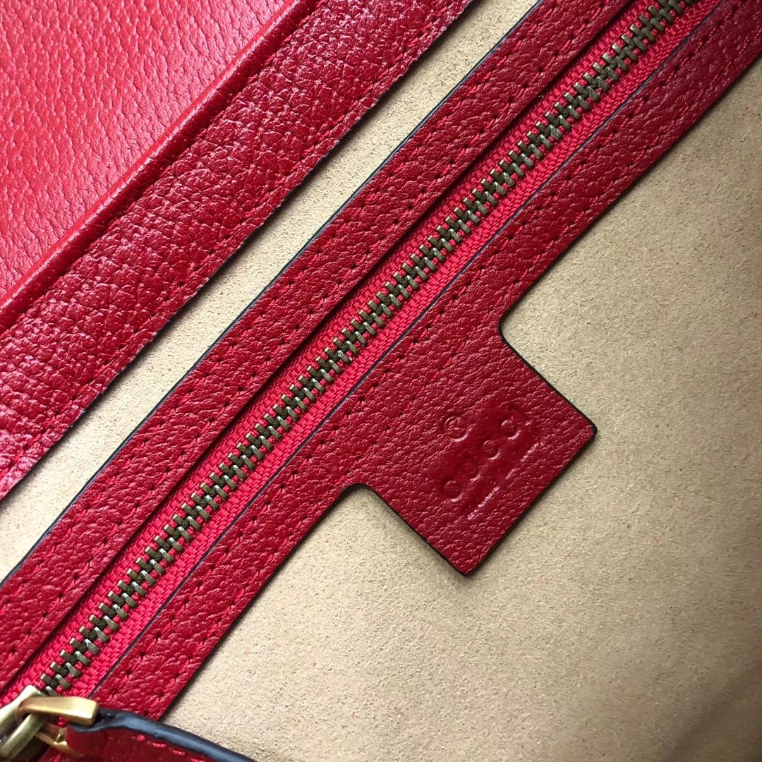 Gucci 玛格丽特皇后【Queen Margaret】476541 老花拼红色 原单皮质进口双G料 以大蜜蜂做点缀 华丽又高雅 25.5x17x13cm