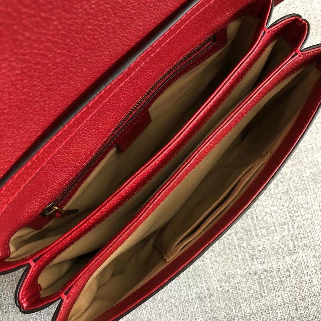Gucci 原版料新系列【Queen Margaret】524356 老花+红色 内里隔层多 可手拿 皮质柔软 27x18x9.5cm