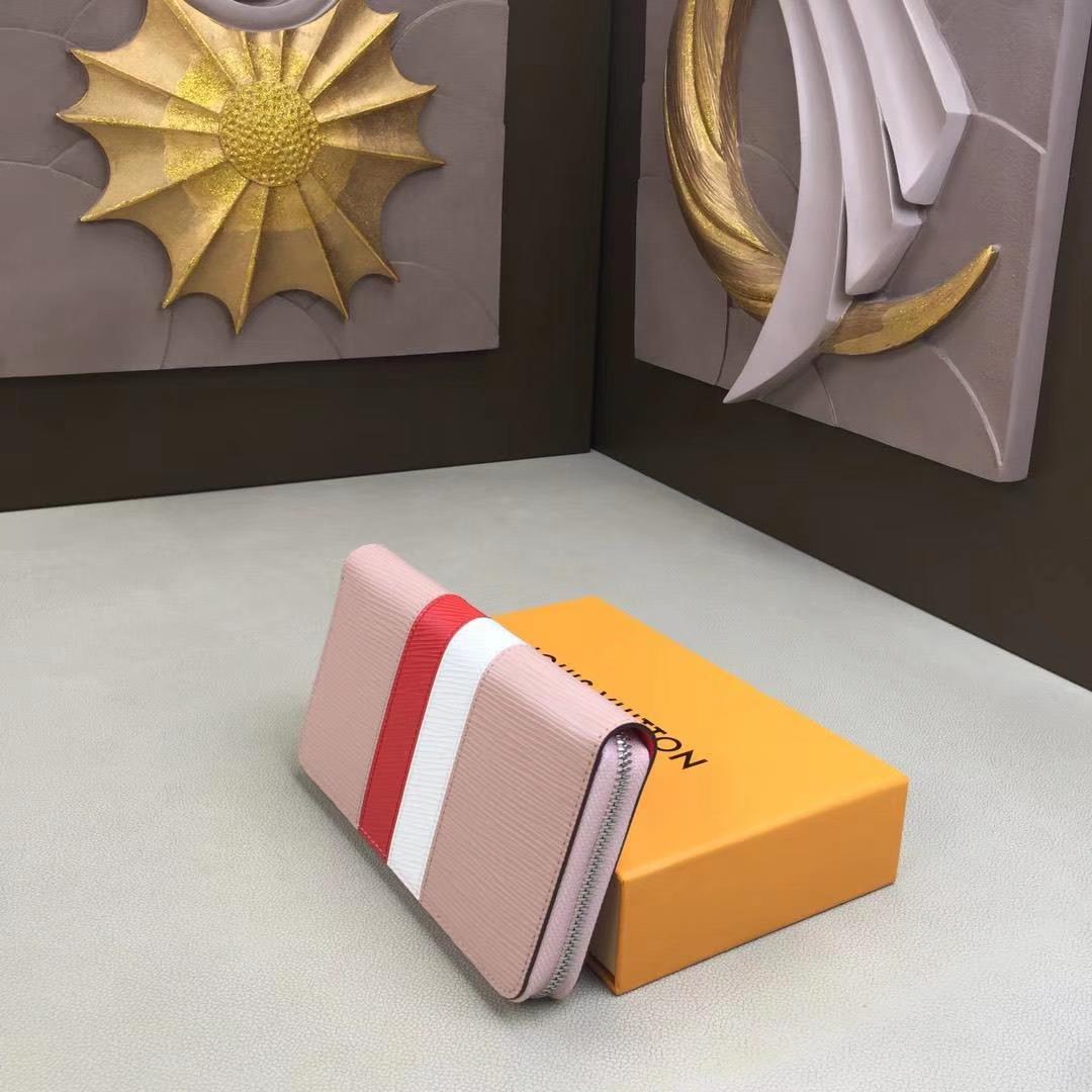 LV路易威登 M62983 粉色  ZIPPY 钱夹 Epi皮革面料 黑色红白条拼色拉链包 19x10cm