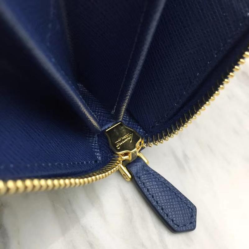 PRADA(普拉达)专柜最新款钱包 1ML506 深蓝色 原单牛皮 原单拉链 时尚特别 双重内阁 卡位多 容量大 20x10.3cm