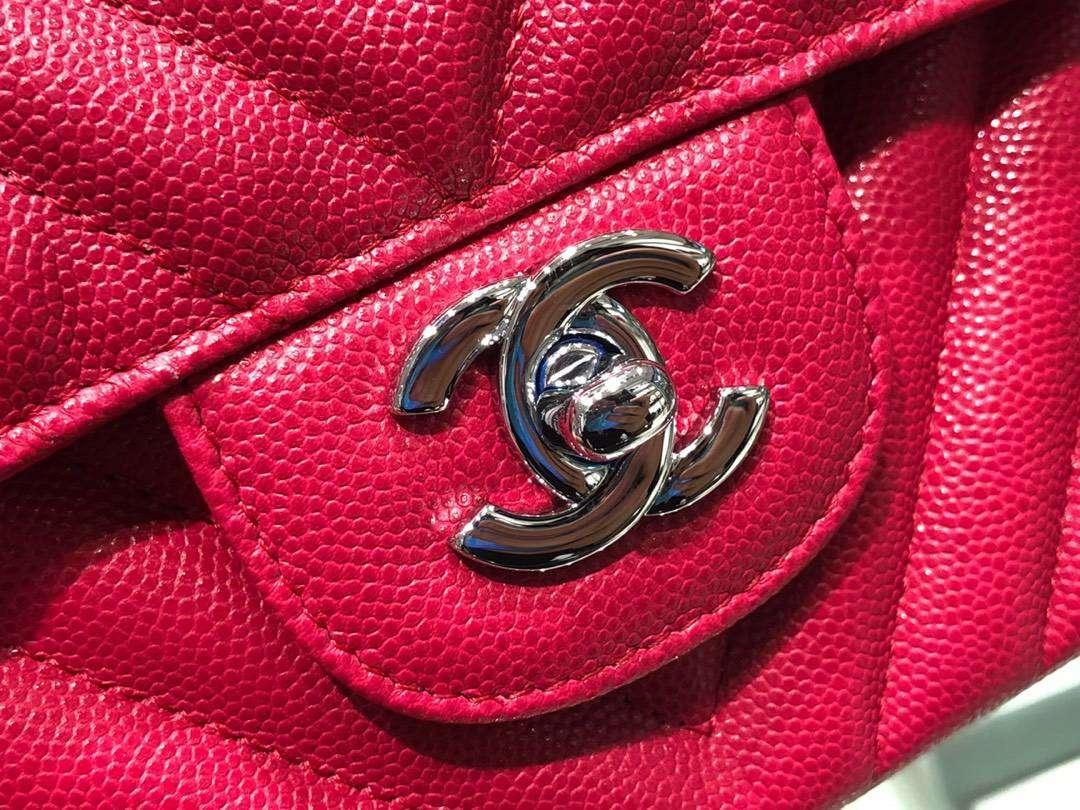 Chanel(香奈儿)classic flap 精选羊皮 玫红色 CF链条包 25cm
