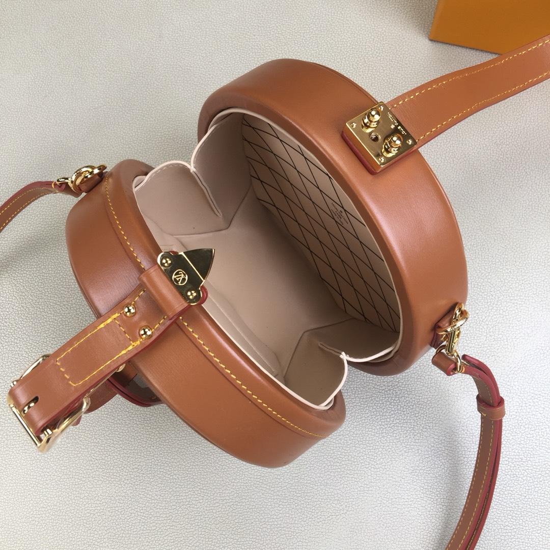 LV原单正品 Grace Coddington联名猫咪系列 PETITE BOITE CHAPEAU女士盒子M52972 正品法国棕色小牛皮