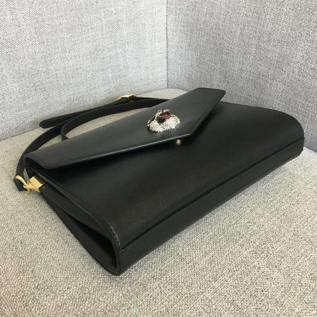 GUCCI (古驰)新款猫头logo复古牛皮包 527857 黑色 咆哮猫头像点缀彩色珐琅 28x19x6.5cm