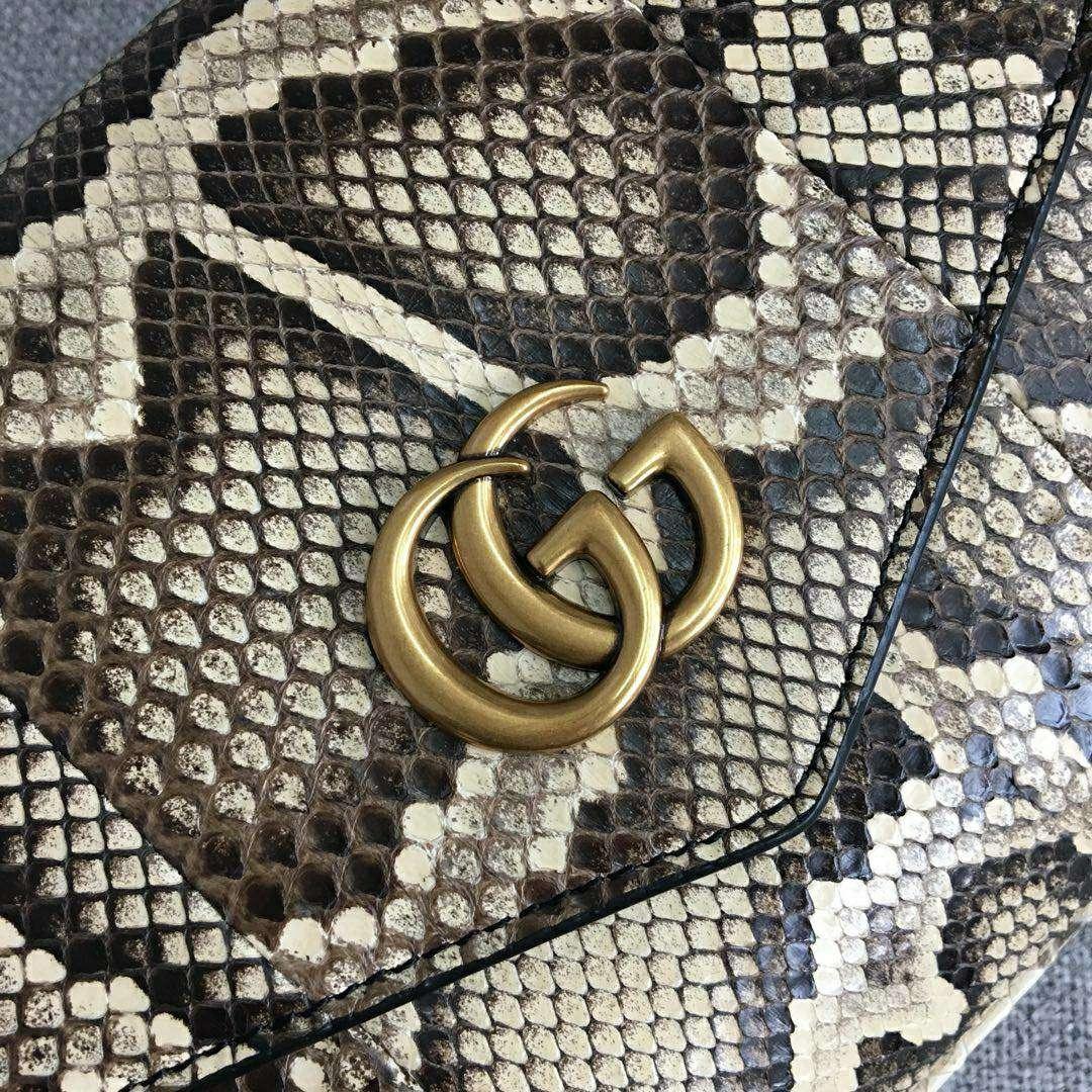 GUCCI(古驰)新款双面双色手提单肩斜挎包 524822-1 黑色+蛇纹 双袋设计 正反两种造型 27x16x6