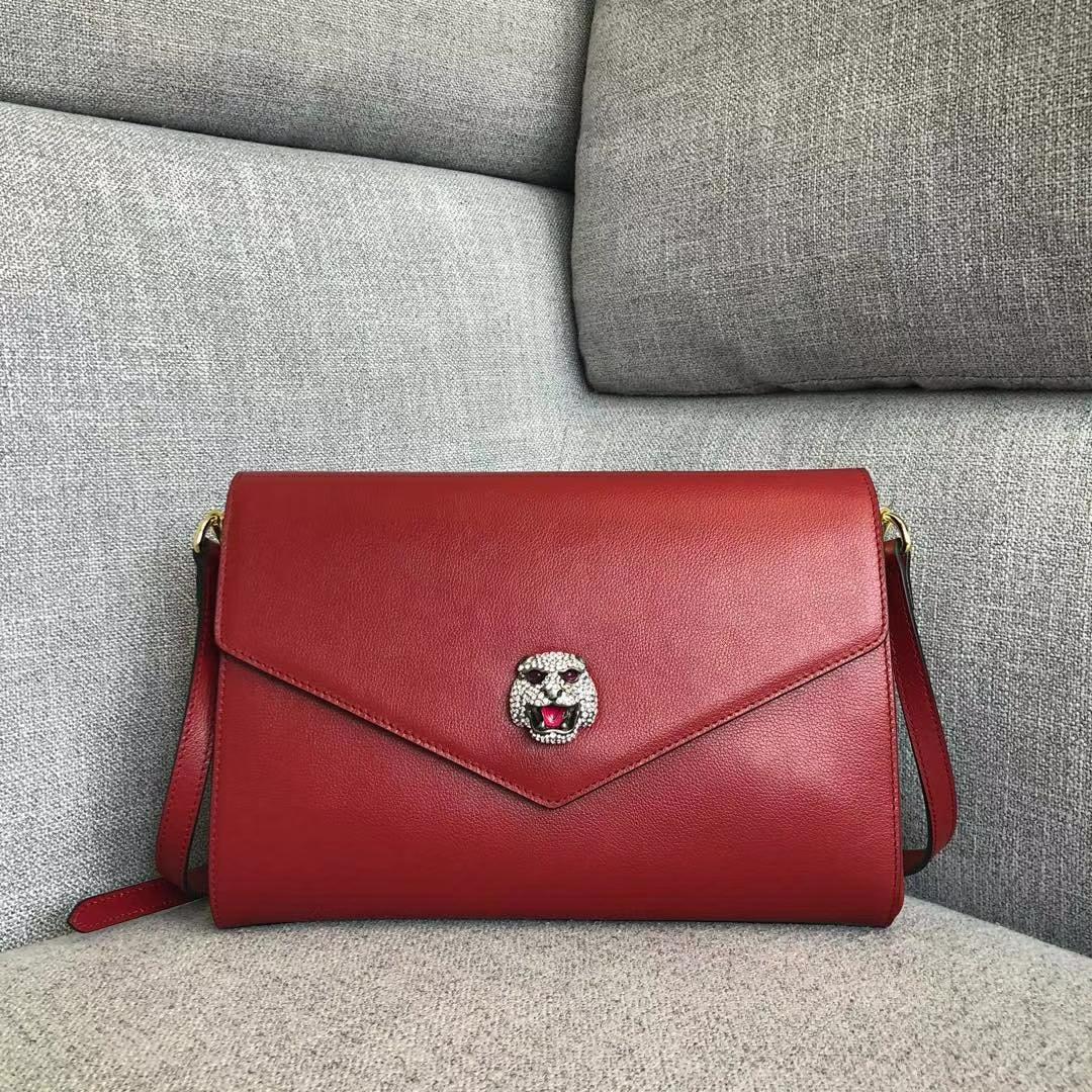 GUCCI (古驰)新款猫头logo复古牛皮包 527857 红色 咆哮猫头像点缀彩色珐琅 28x19x6.5cm