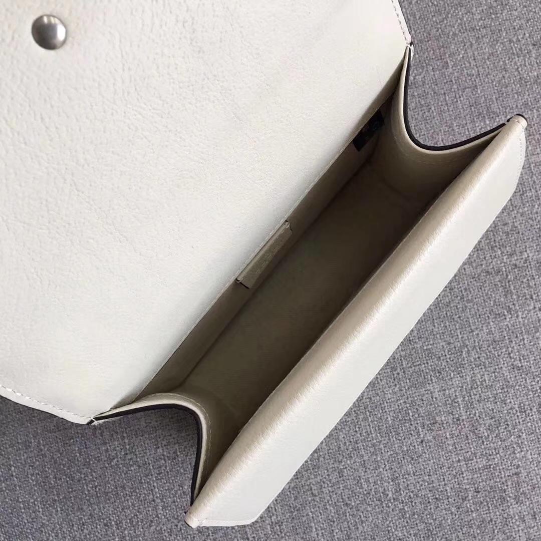 GUCCI(古驰)最新平纹系列链条包 421970 白色 柔软进口牛皮 双虎头五金 镶嵌施华洛水晶 大气高档 20x15.5x6