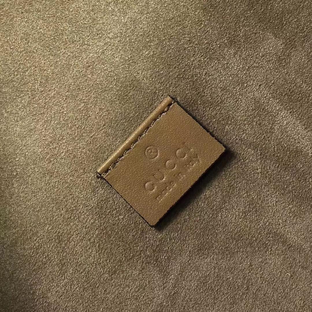 GUCCI(古驰)酒神系列手袋 403348 驼色 进口GG高级面料配搭磨砂皮 古银织纹虎头马刺 30x10x21