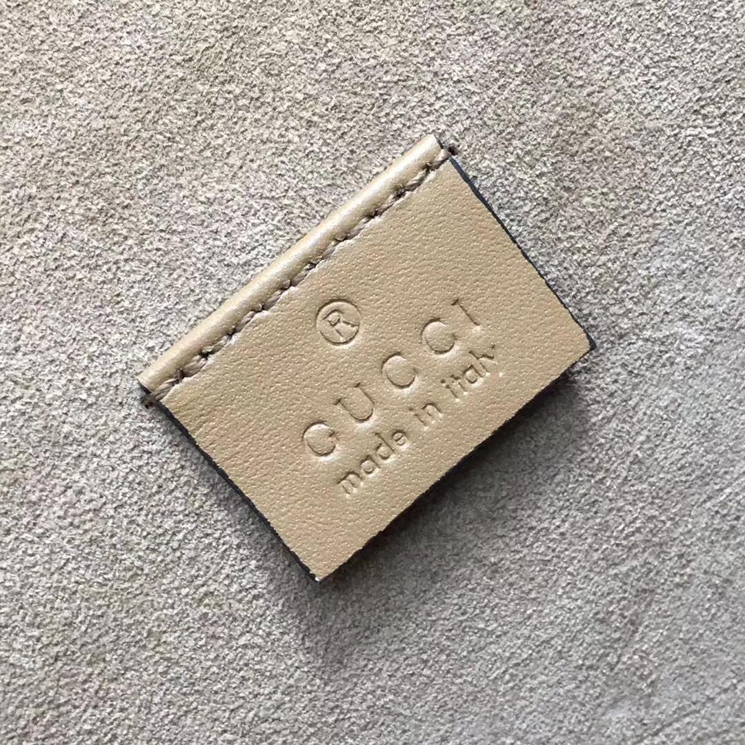 GUCCI(古驰)酒神包 400249 驼色 进口独家GG高级人造革 柔软面料配搭磨砂皮 古银织纹虎头马刺 28x10x16cm