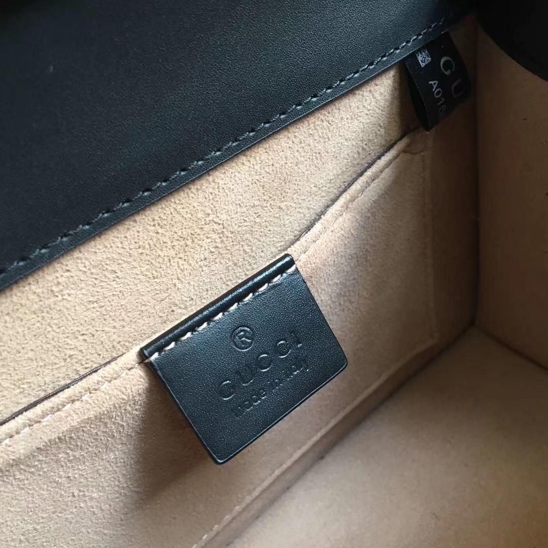 GUCCI(古驰)蝴蝶蜜蜂狮子头金属装饰手提包 470270 黑色 定制正品五金 皮肩带经典混色的多彩粗绳编织肩带 20x8x15cm