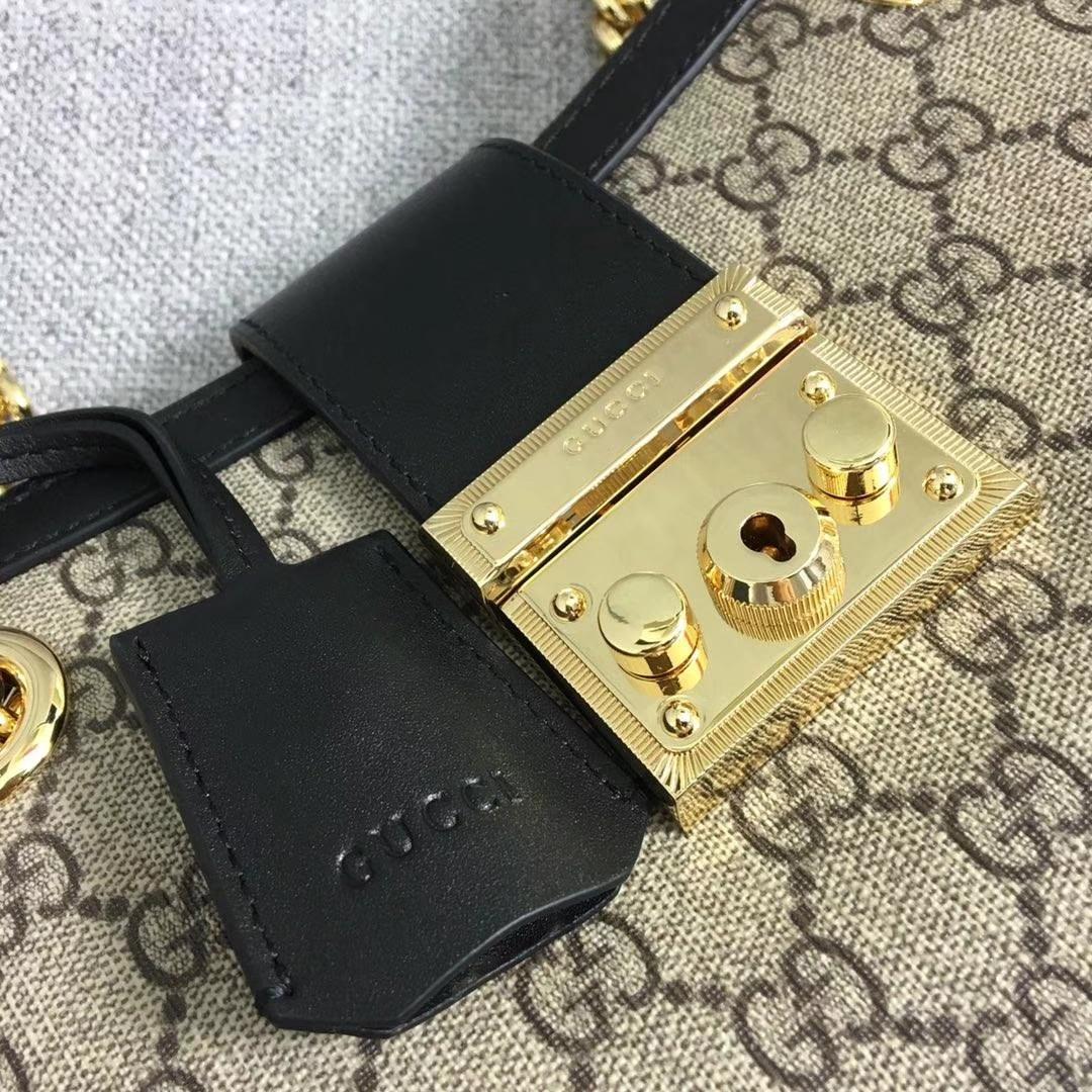 GUCCI(古驰)购物袋款 padlock 498156 黑色 爆款现货 以双G进口面料搭配牛皮 精致百搭风 26x18x10cm