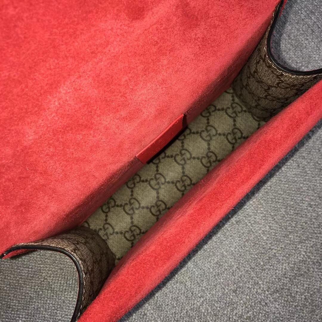GUCCI(古驰)经典小号酒神包 421970 红色 达人必备款 古银织纹虎头马刺扣 20×15.5×6