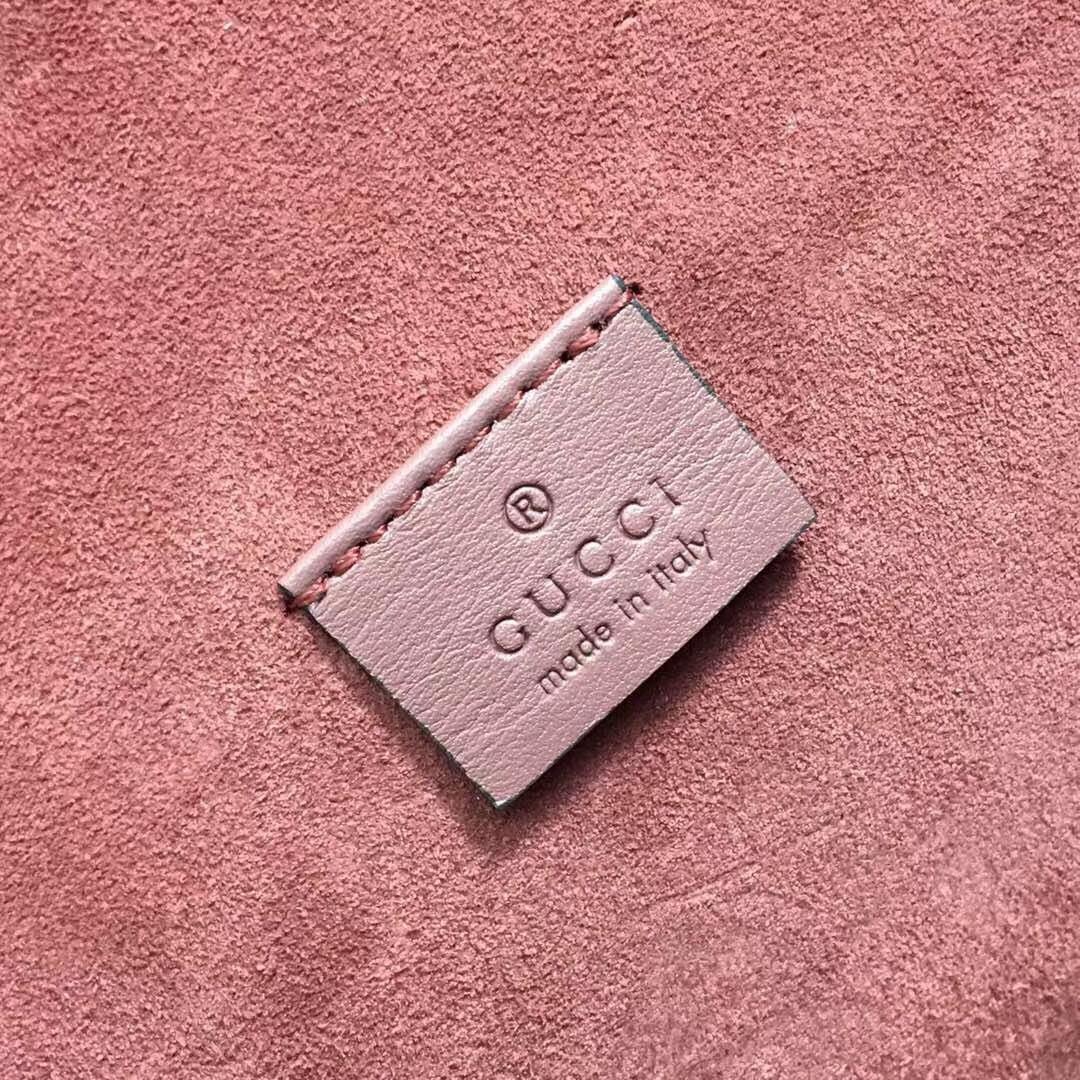 GUCCI(古驰)酒神包天竺葵系列 400249 粉色花纹 原单品质 古银织纹虎头马刺扣 28x10x16cm