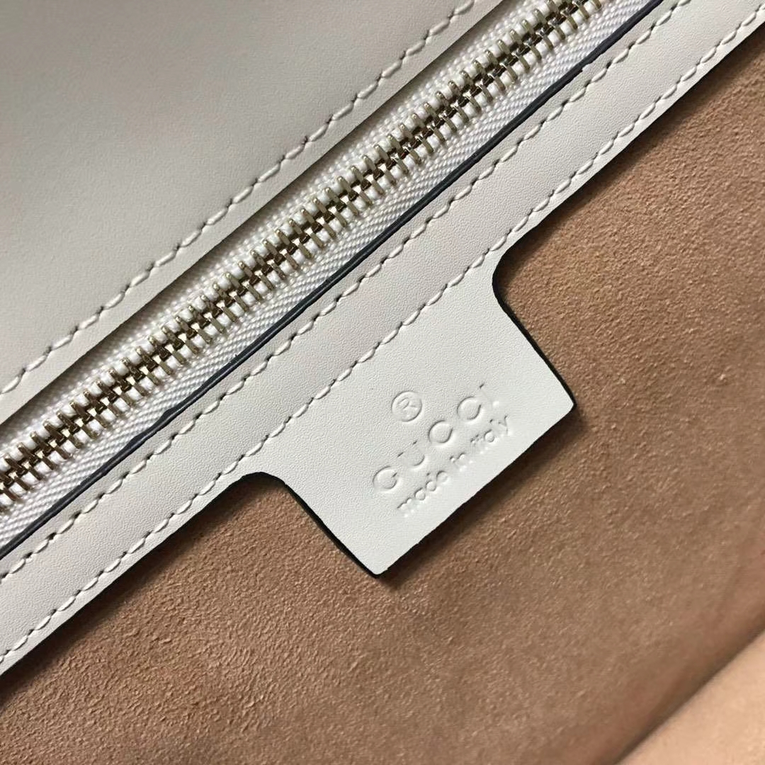 GUCCI(古驰)Sylvie 逆袭款 421882 白色 四季爆款代表性链条包 精致织带 25.5x8x17cm