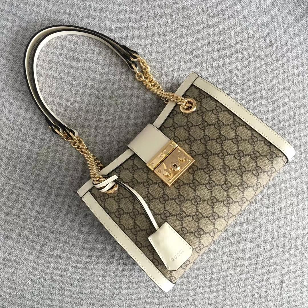GUCCI(古驰)购物袋款 padlock 498156 白色 爆款现货 以双G进口面料搭配牛皮 精致百搭风 26x18x10cm