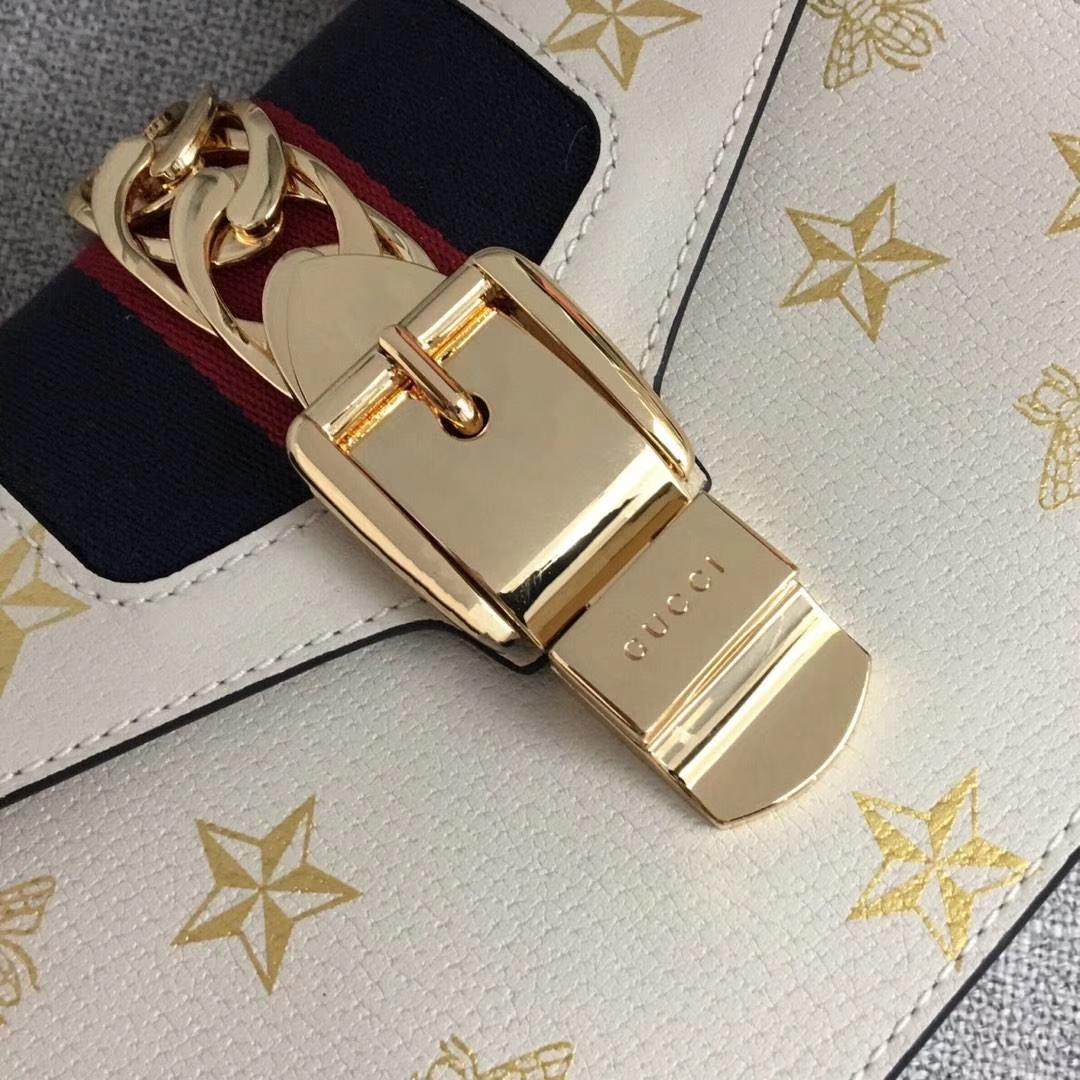 GUCCI(古驰)2019开春新款 470270 白色 丝印独特工艺 一条手挽和两条不同材质的长带满足日常搭配 复古时尚精致 20×8×14