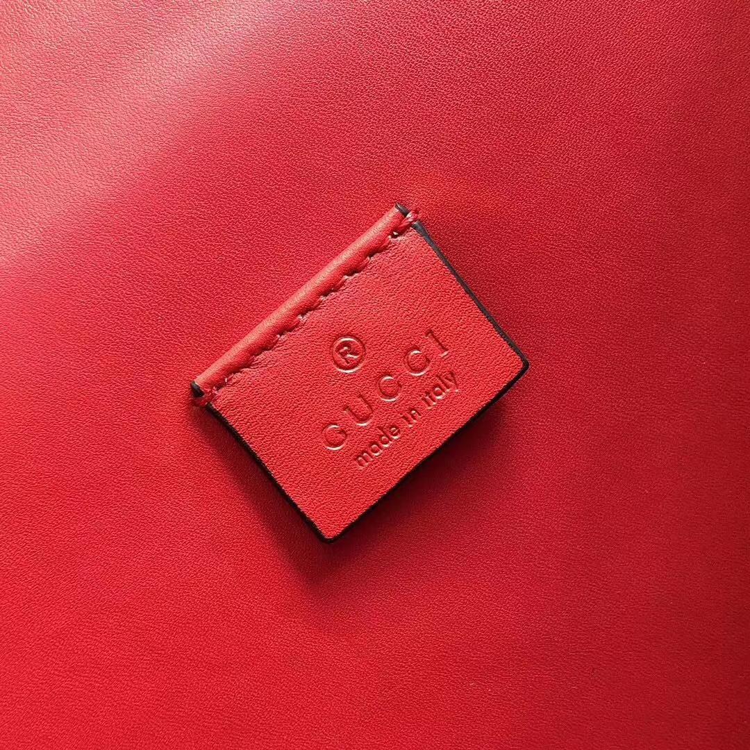 GUCCI(古驰)猄皮 Now 酒神包 400249 红色 古银织纹虎头马刺扣 原单品质 顶级手工 28x10x16cm