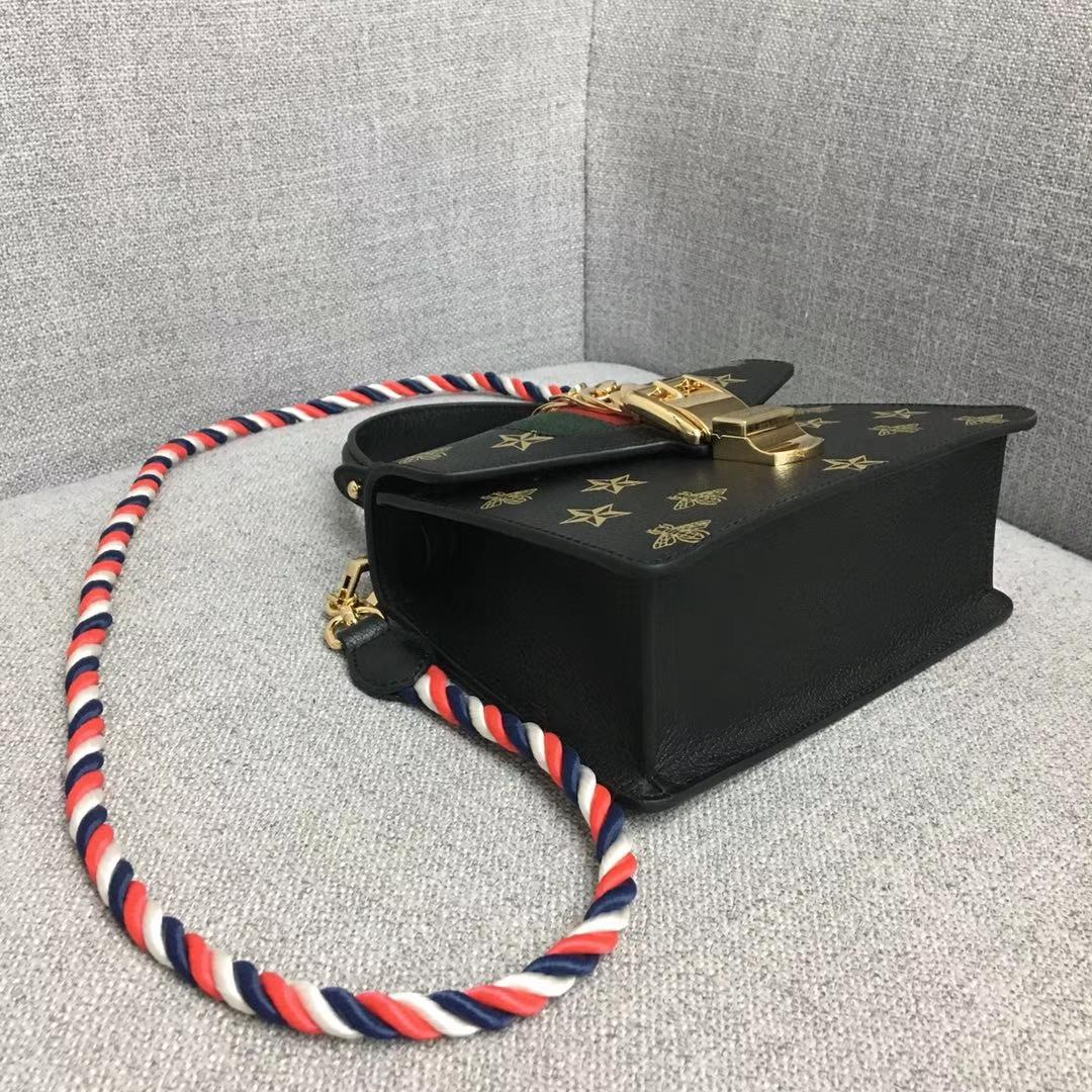 GUCCI(古驰)2019开春新款 470270 黑色 丝印独特工艺 一条手挽和两条不同材质的长带满足日常搭配 复古时尚精致 20×8×14