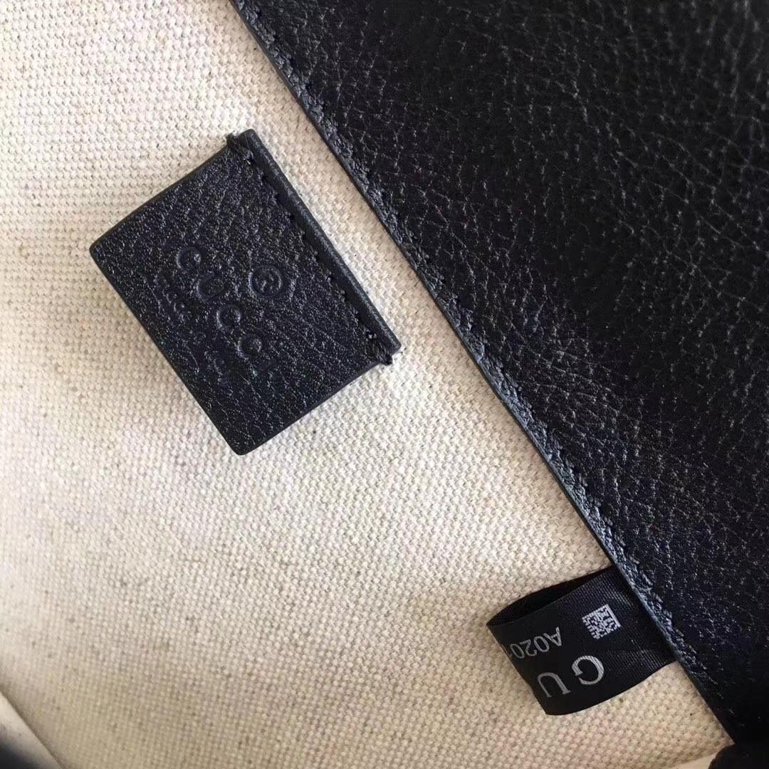 GUCCI(古驰)最新平纹系列链条包 421970 黑色 柔软进口牛皮 双虎头五金 镶嵌施华洛水晶 大气高档 20x15.5x6