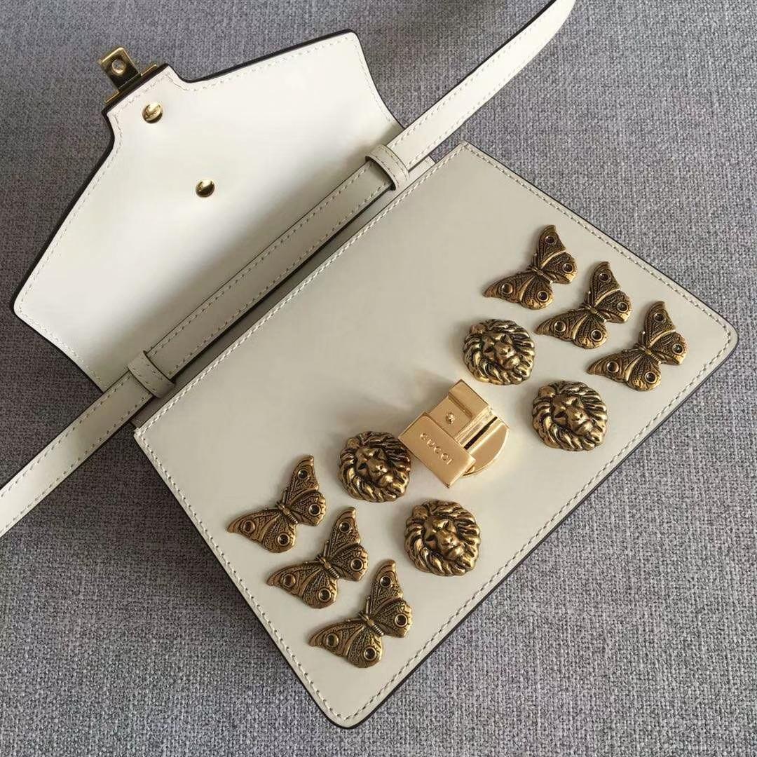 GUCCI(古驰)蝴蝶蜜蜂狮子头金属装饰手提包 470270 白色 定制正品五金 皮肩带经典混色的多彩粗绳编织肩带 20x8x15cm