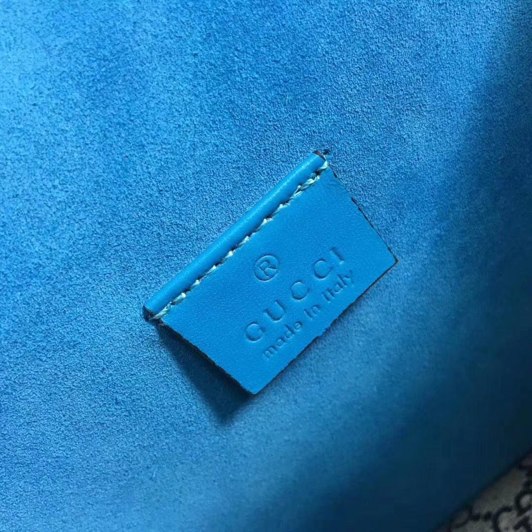 GUCCI(古驰)酒神包天竺葵系列 421970 蓝色花纹 原单品质 古银织纹虎头马刺扣 20x15.5x6