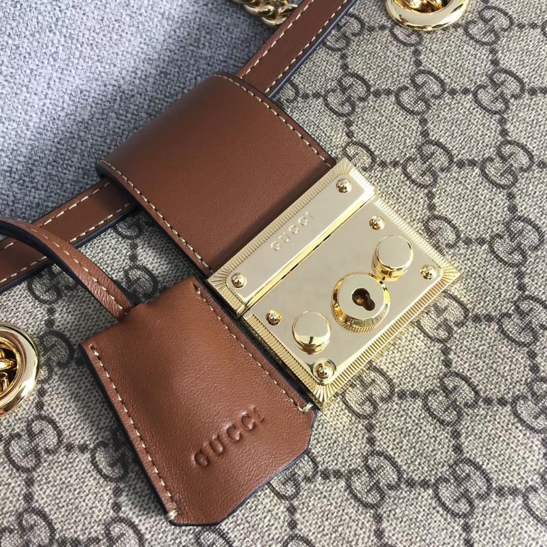 GUCCI(古驰)购物袋款 padlock 498156 咖啡色 爆款现货 以双G进口面料搭配牛皮 精致百搭风 26x18x10cm