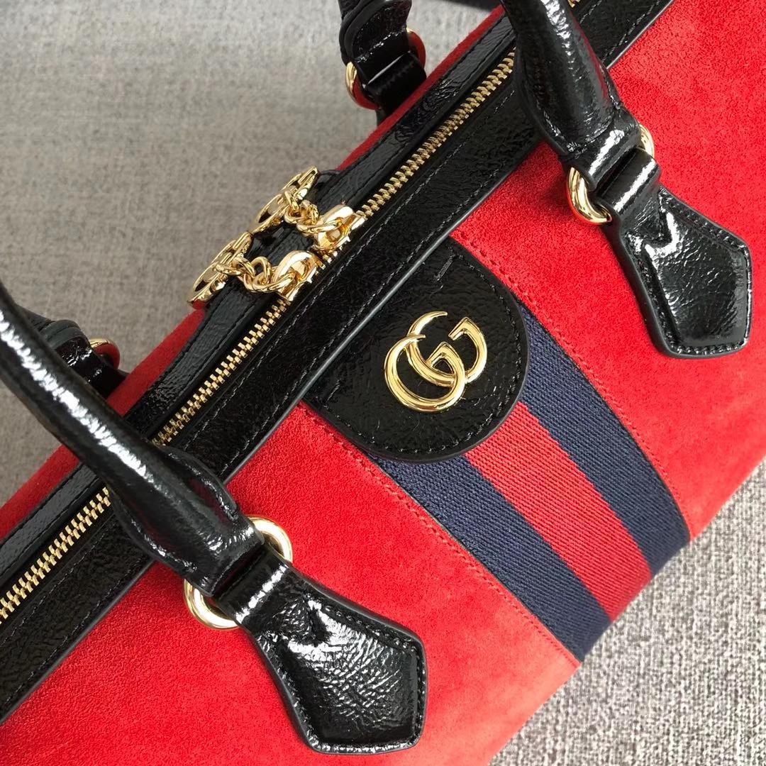 GUCCI(古驰)枕头包系列 524532 红色 经典磨砂皮款式 以主打双G为标新 原单品质 时尚街拍单品 32x16.5x12.5