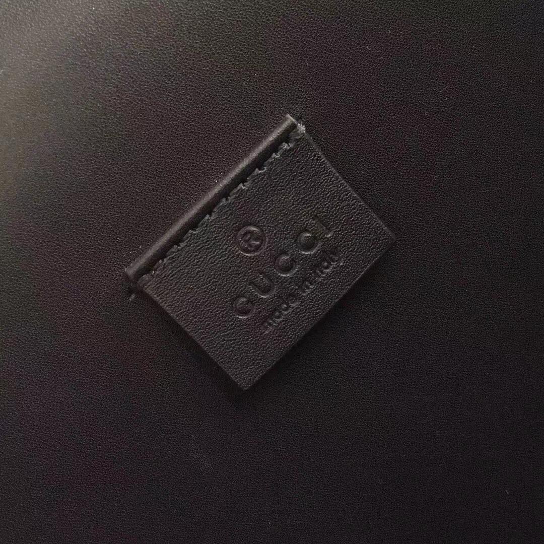 GUCCI(古驰)猄皮 Now 酒神包 400249 黑色 古银织纹虎头马刺扣 原单品质 顶级手工 28x10x16cm