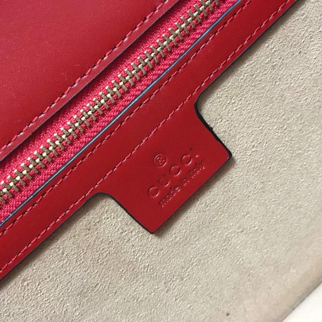 GUCCI(古驰)Sylvie 逆袭款 421882 红色 四季爆款代表性链条包 精致织带 25.5x8x17cm