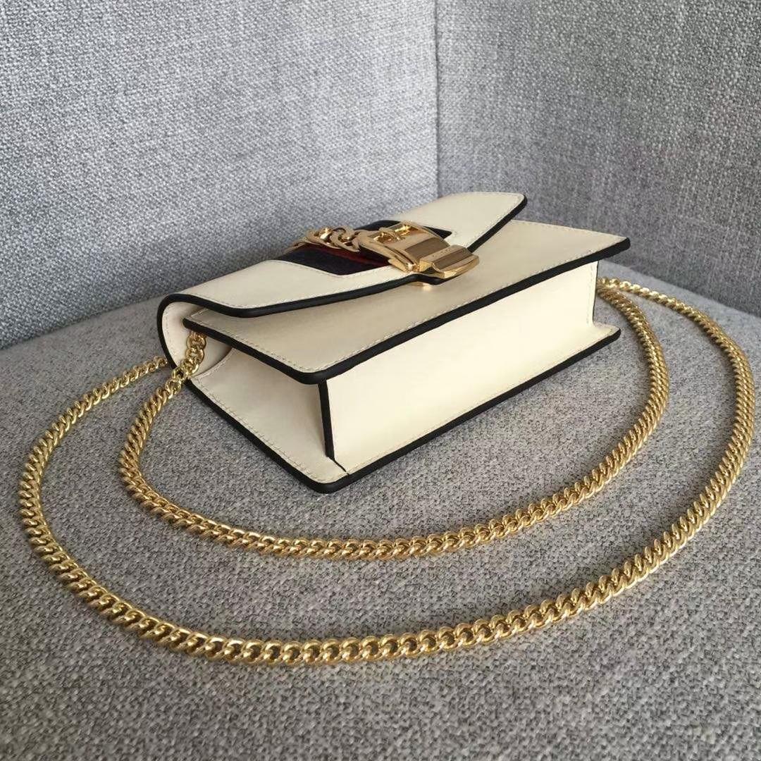 GUCCI(古驰)逆袭款 Sylvie系列全皮迷你链条包 494646 白色 配以嵌尼龙织带 mini尺寸 16.5×10.5×3.5cm