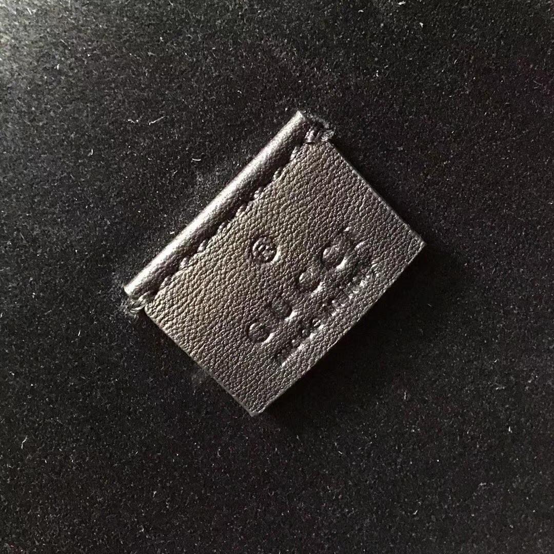 GUCCI(古驰)酒神系列手袋 403348 黑色 进口GG高级面料配搭磨砂皮 古银织纹虎头马刺 30x10x21