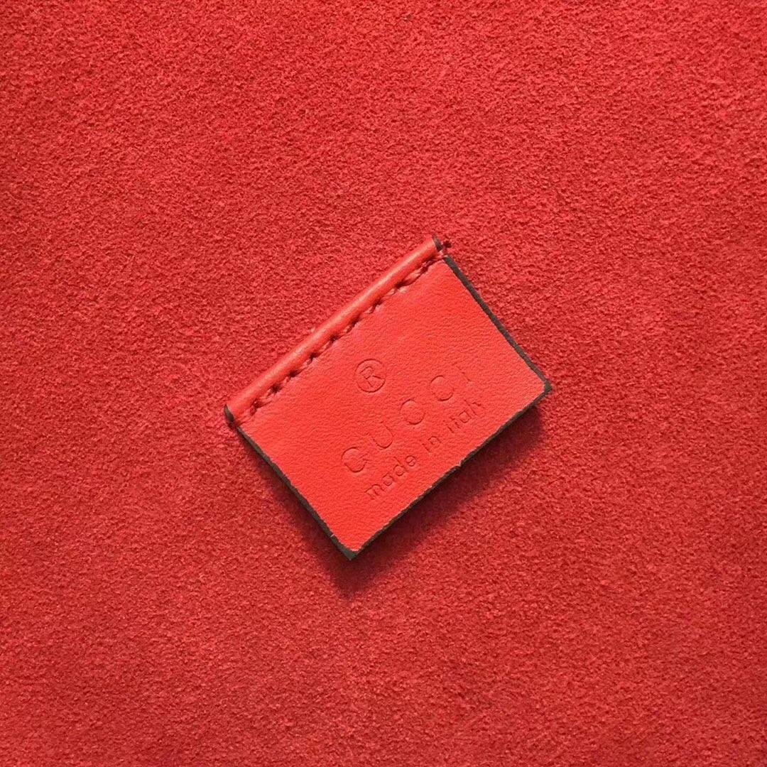 GUCCI(古驰)酒神包 400249 红橙色 进口独家GG高级人造革配搭磨砂皮 古银织纹虎头马刺 28x10x16cm