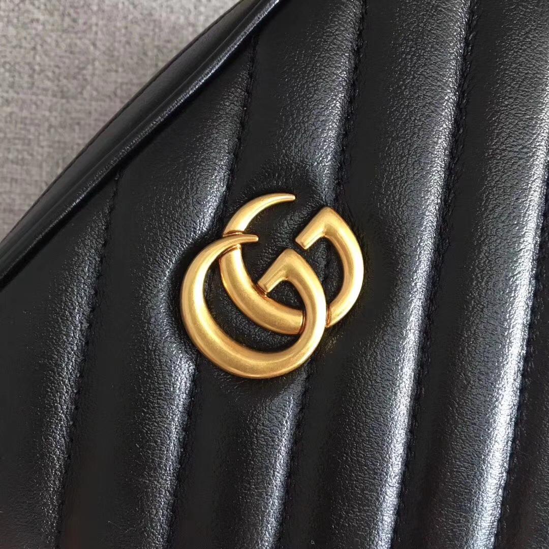 GUCCI(古驰)最新款经典双G mini双层小斜挎包 550155 黑色 进口五金 原单质量 16x7x19