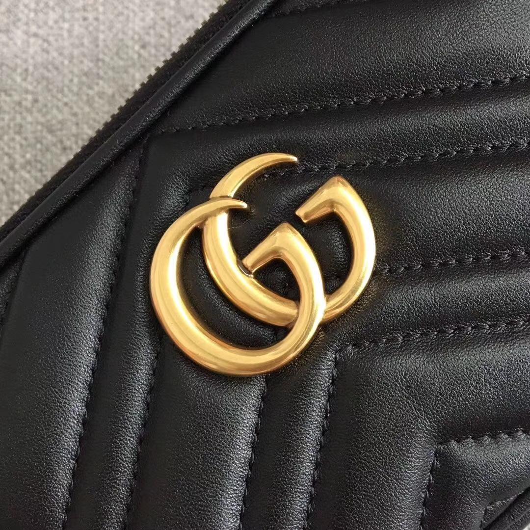 GUCCI(古驰)Marmont系列双G风琴多层设计链条包 546581 黑色 人气爆款 小斜挎包 19x10x8