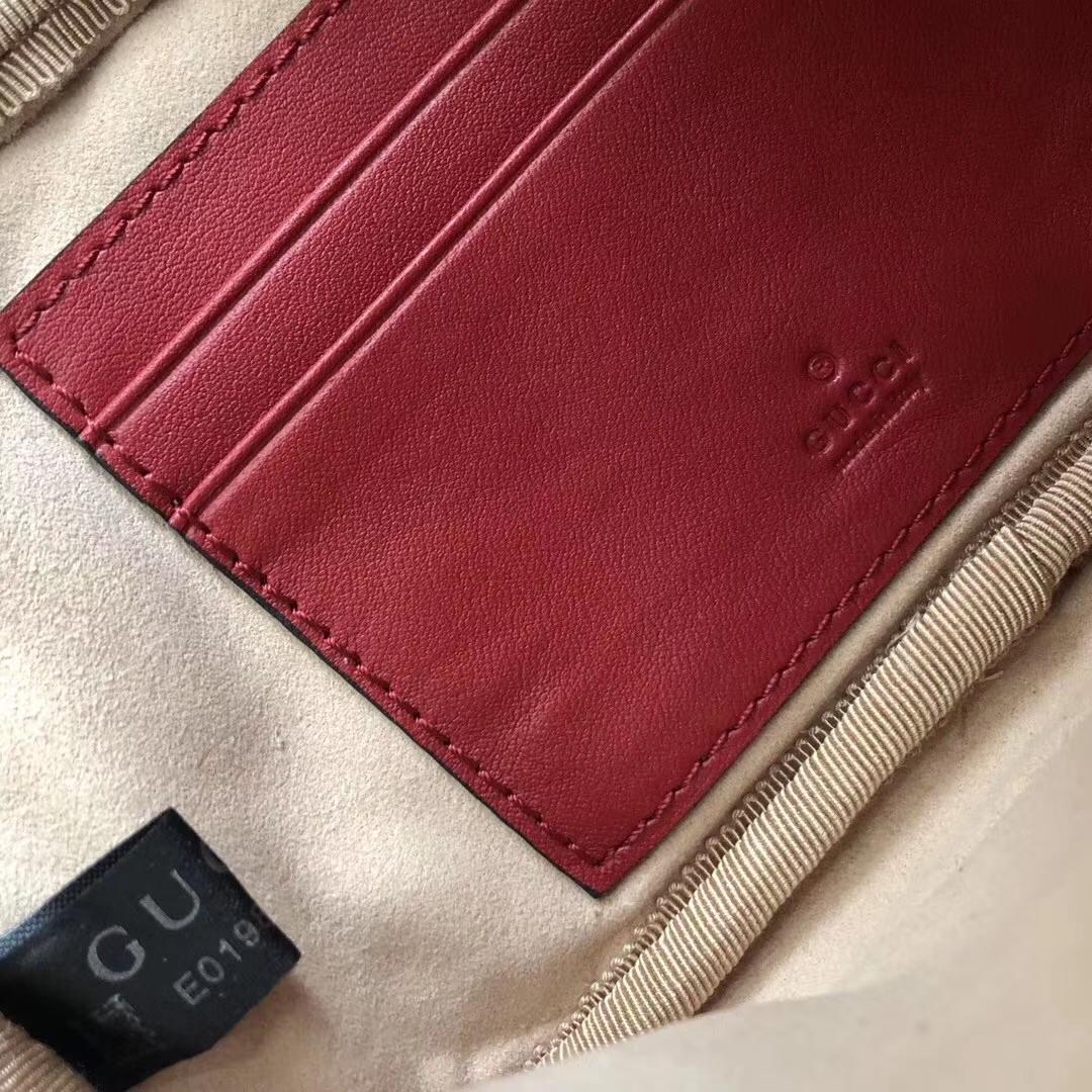 GUCCI(古驰)Marmont系列双G风琴多层设计链条包 546581 酒红色 人气爆款 小斜挎包 19x10x8