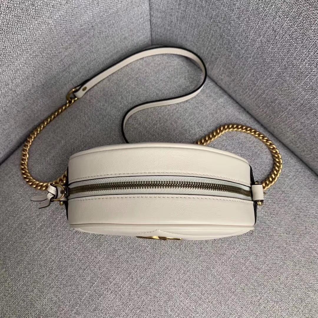 GUCCI(古驰)Ophidia系列迷你圆形小牛皮手拿单肩链条包 550154 白色 18x18x6.5