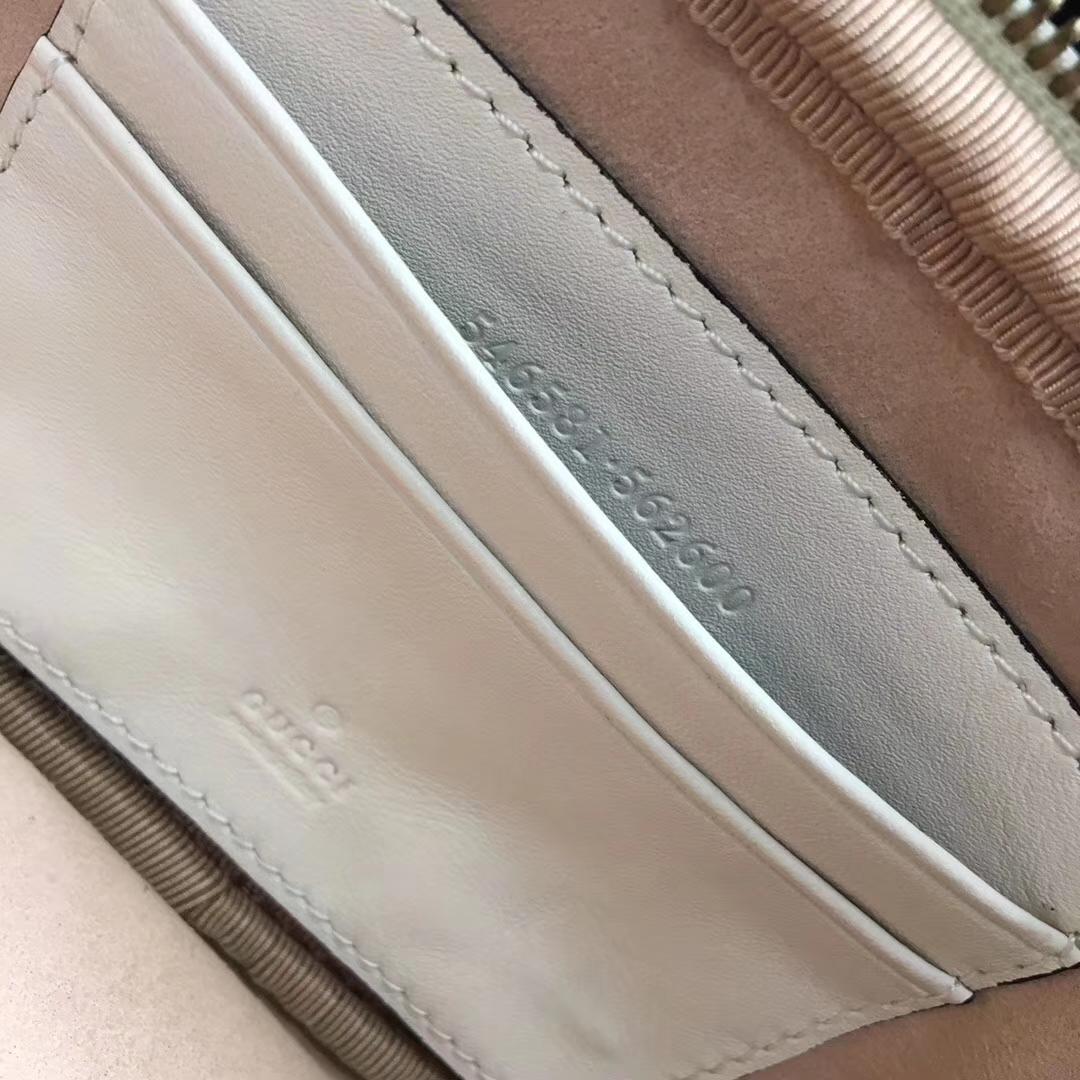 GUCCI(古驰)Marmont系列双G风琴多层设计链条包 546581 白色 人气爆款 小斜挎包 19x10x8