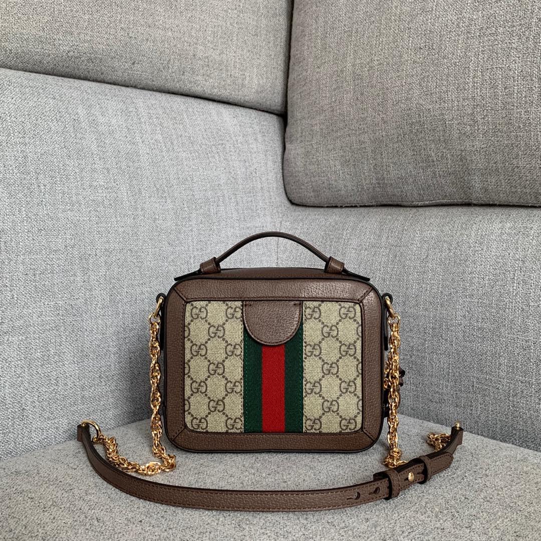 广州白云皮具城 Gucci古驰红绿条纹织带迷你小方包链条斜挎包18.5CM