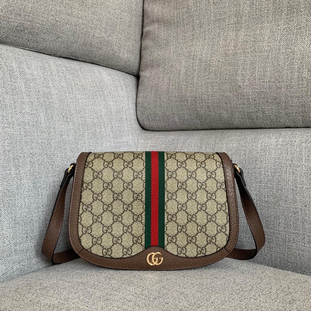 古奇新款女包 Gucci601044经典老花红绿织带复古邮差包斜挎包25CM