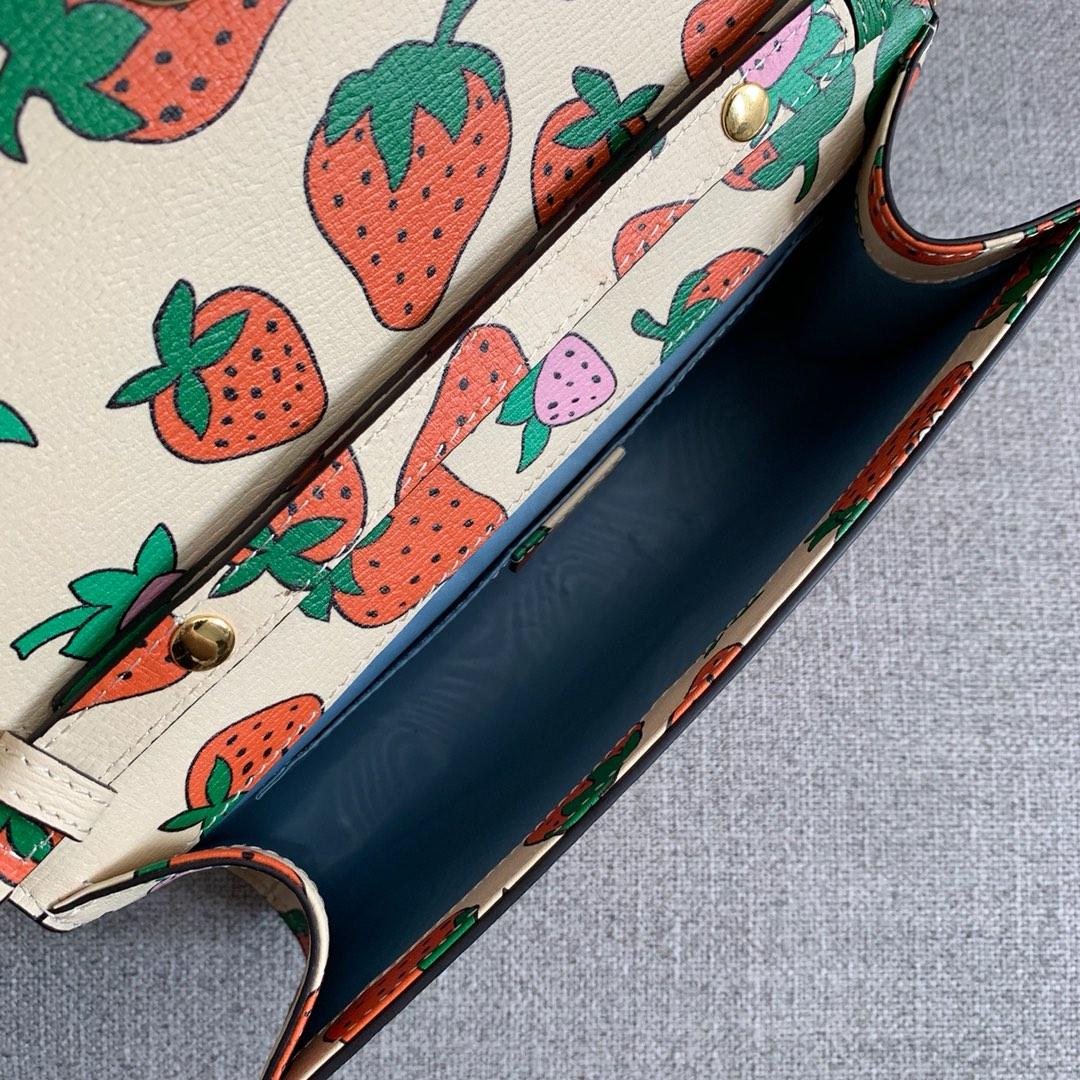 一件代发 Gucci古奇最新款 ZUMI系列手提包链条单肩女包24CM 草莓图案