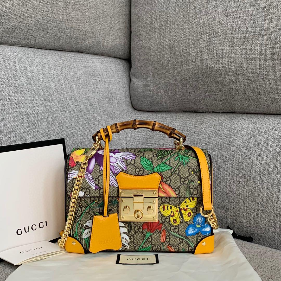 古奇包包批发 Gucci爆款花鸟系列竹节箱子包手提斜挎女包23CM