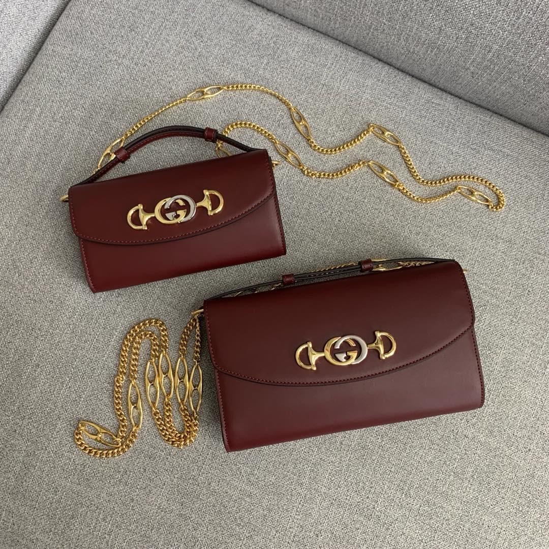 Gucci包包价格 古驰新款ZUMI系列链条手提包单肩包24CM 酒红色
