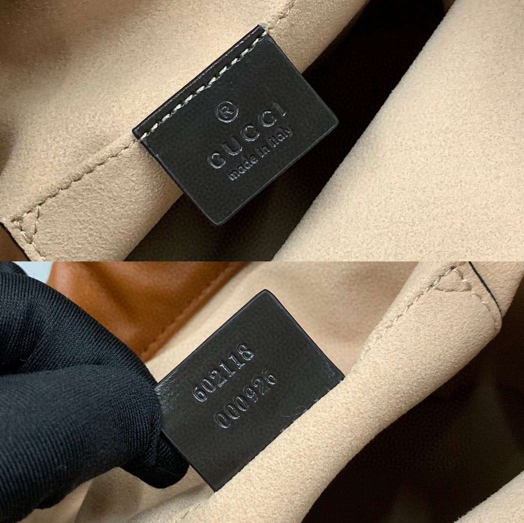 Gucci包包官网 古奇2020年新款马衔扣水桶包单肩斜挎女包25cm 棕色