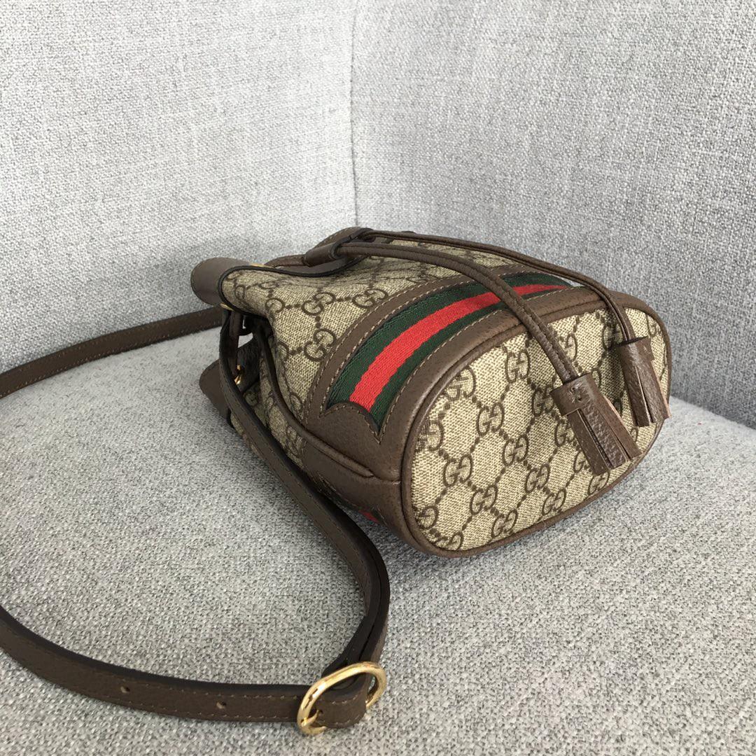Gucci古奇新款经典双G面料mini迷你水桶包斜挎女包19cm