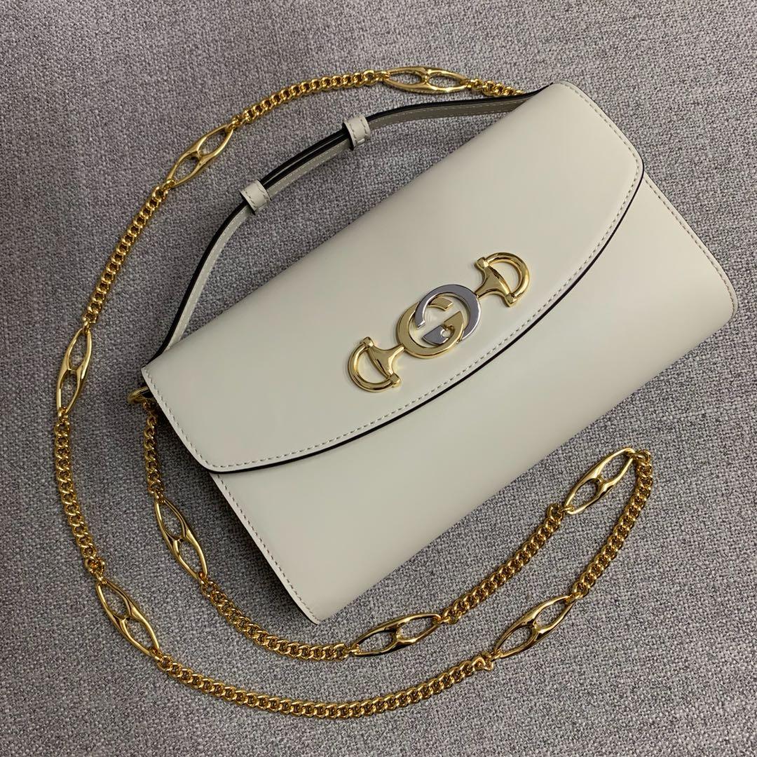 Gucci古驰572375最新款 ZUMI系列牛皮手提包链条单肩包24CM 白色