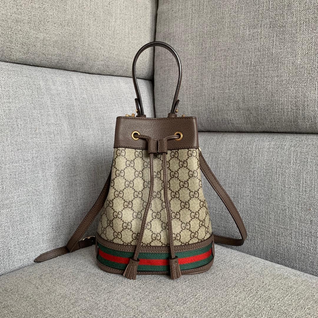 古驰包包批发 Gucci Ophidia系列中号水桶包25cm 手提斜挎女包